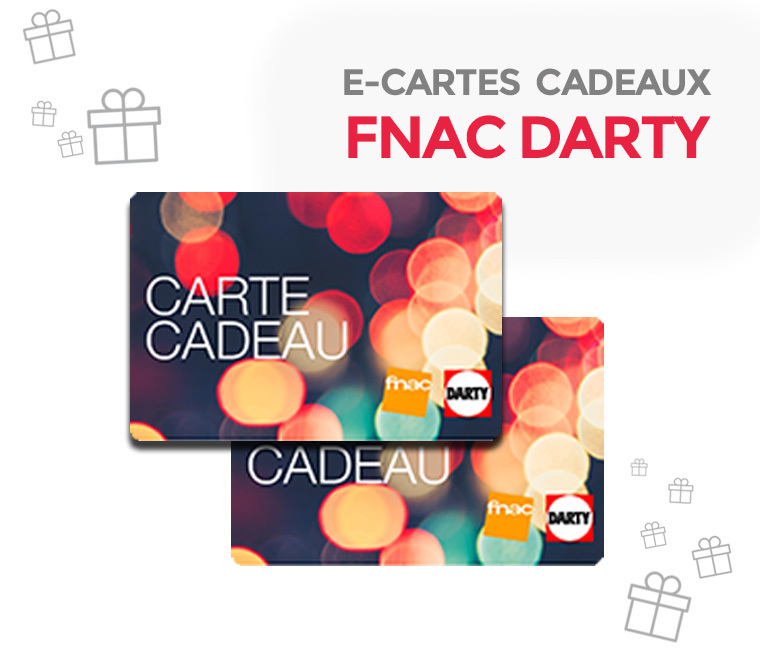 7% de réduction sur les e-cartes cadeaux Fnac-Darty de 50€