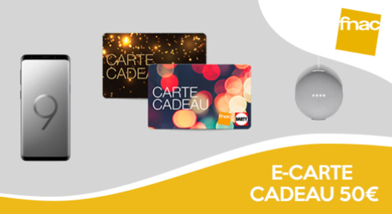 5% de réduction sur les e-cartes cadeaux Fnac-Darty de 50€
