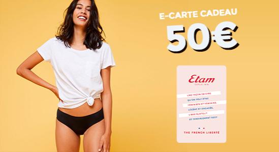 7% de réduction sur la e-carte cadeau Etam de 50€
