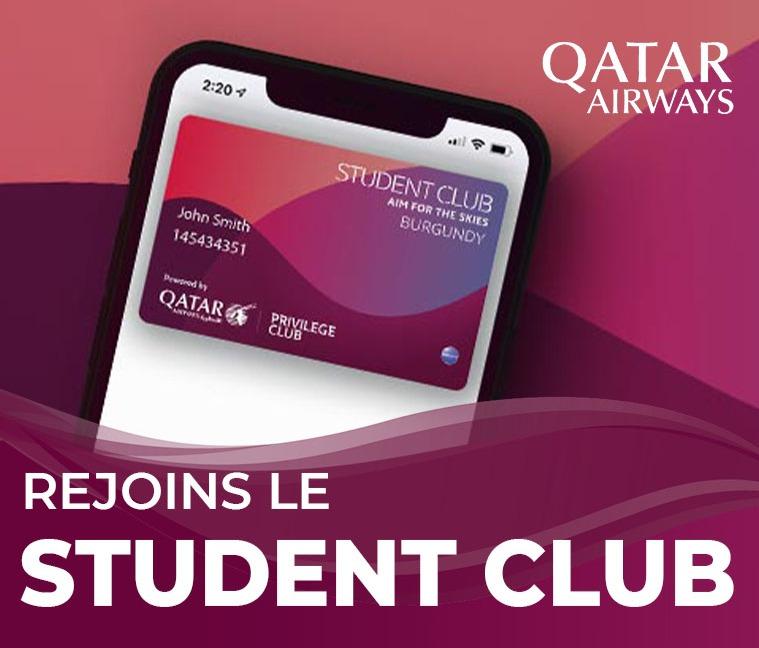 Tente de gagner une paire de billets d'avion vers une destination de rêve en adhère gratuitement au Student Club Qatar Airways pour profiter d'avantages exclusifs !